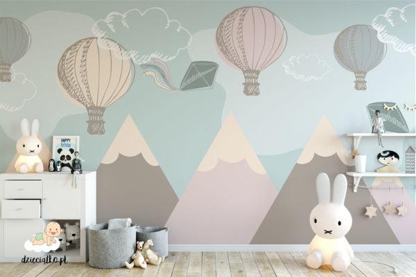 fototapeta góry i balony