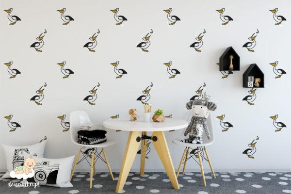 pelikany rozmieszczone na jasnym tle – tapeta dla dzieci