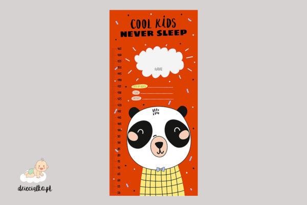 pomarańczowa miarka wzrostu z głową pandy – naklejka ścienna dla dzieci