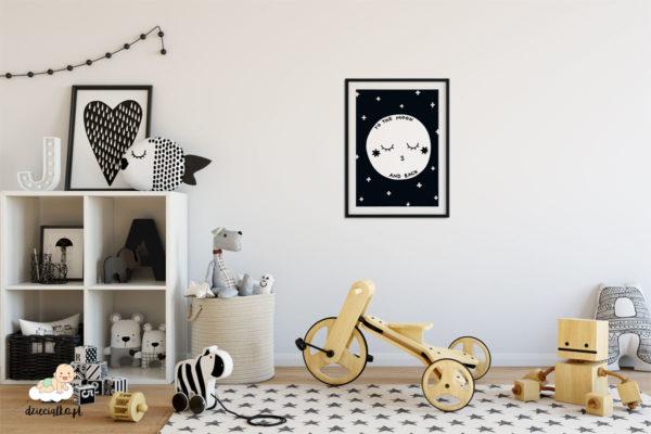 śpiący księżyc na tle gwieździstego nieba – plakat dla dzieci