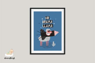 napis i lama z rakietą kosmiczną na szyi – plakat dla dzieci