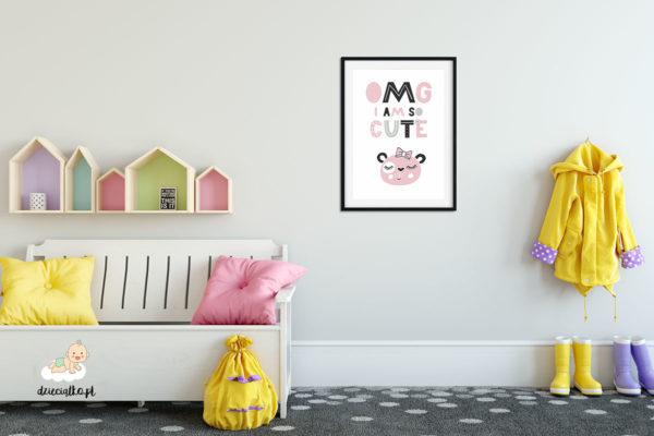 napis i głowa słodkiej misiaczki - plakat dla dzieci