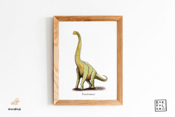 narysowany branchiozaur – artystyczny plakat