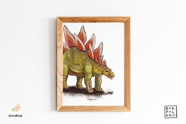 narysowany stegozaur – artystyczny plakat