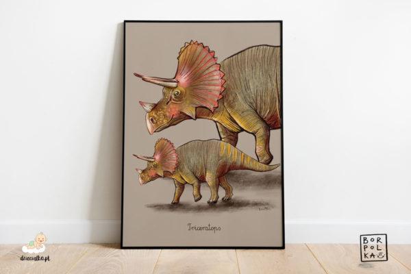 narysowany triceratops – artystyczny plakat