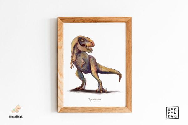 narysowany tyranozaur – artystyczny plakat