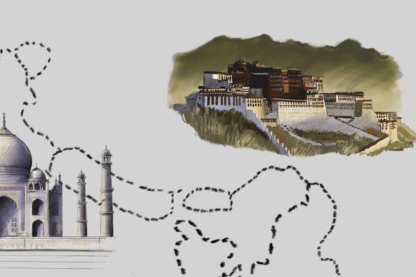 warte poznania budowle na mapie świata - fototapeta dla dzieci