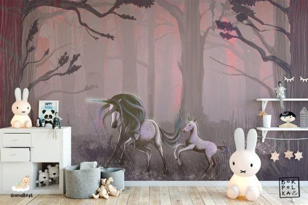 piękne jednorożce w tajemniczym lesie – fototapeta dla dzieci