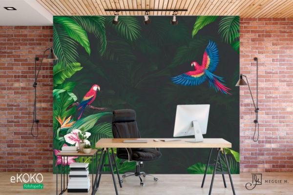 tropikalna zieleń i papugi na z zielonym tłem – fototapeta