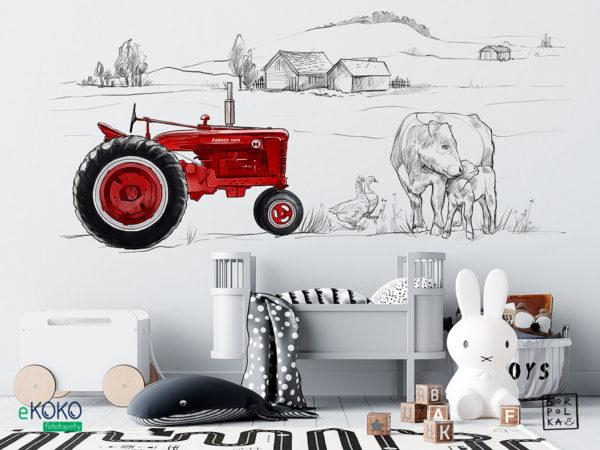 wiejskie gospodarstwo ze zwierzętami i czerwonym traktorem - fototapeta dla dzieci
