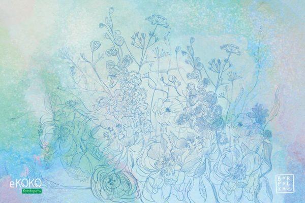 akwarela błękitne kwiaty - fototapeta