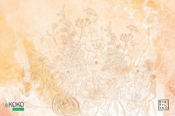 akwarela brązowe kwiaty na żółtawym tle - fototapeta