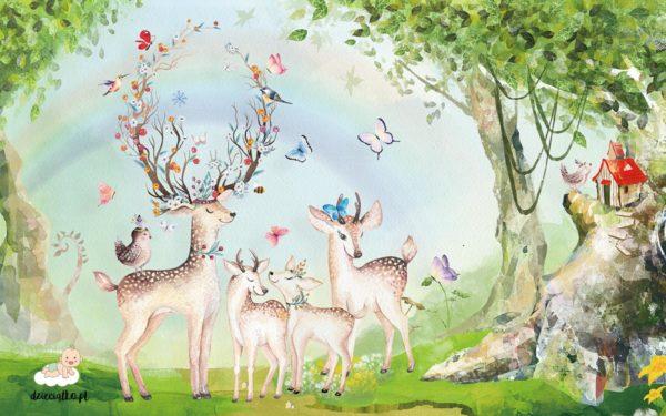 radosne sarenki na zielonej polanie wśród ptaków i motyli - fototapeta dla dzieci