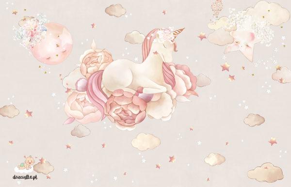 piękny jednorożec unosi się na kwiatach wśród chmur i gwiazd - fototapeta dla dzieci