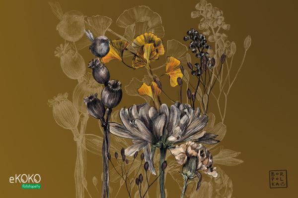 kwiaty i łodygi na musztardowym tle - fototapeta