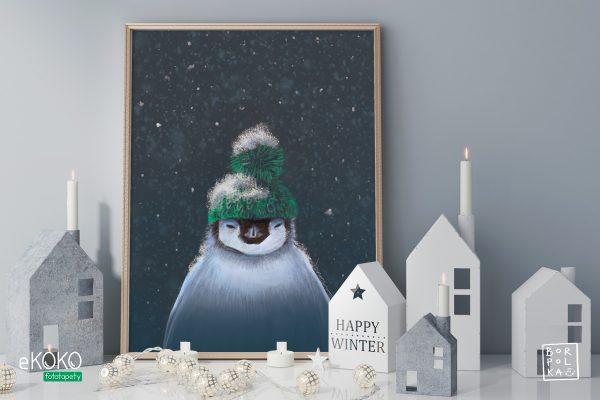 pingwin w zimowej czapce na tle nocnego nieba – artystyczny plakat