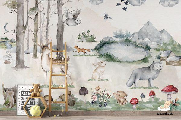 zwierzęta, grzyby, lasek, góry, woda - fototapeta dla dzieci