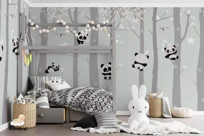 słodkie pandy na drzewach - fototapeta dla dzieci