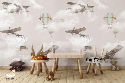 retro samoloty i balony w chmurach - fototapeta dla dzieci