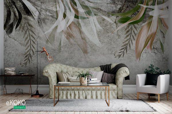 zwisające różnorodne liście na betonowym tle - fototapeta