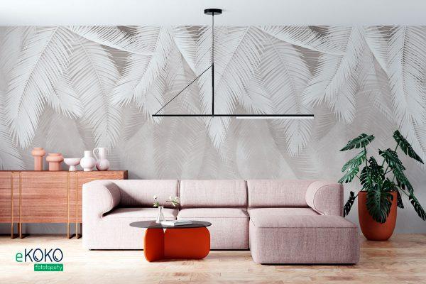 zwisające szare palmowe liście na jasnym tle - fototapeta