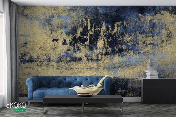 złoto na niebieskim tle abstrakcja - fototapeta