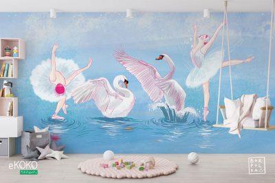 baletnice i łabędzie w wspólnym tańcu na wodzie- fototapeta dla dzieci