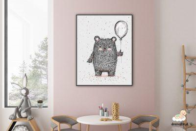 miś z balonem - plakat dla dzieci