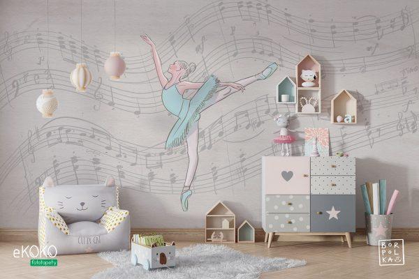 baletnice w tańcu na szarym tle zapianym nutami - fototapeta dla dzieci